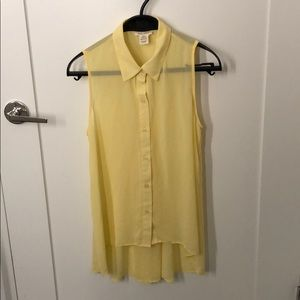 Yellow Sleeveless Long Sheer Top